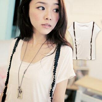 ☆雙兒網☆Chic girl【U132】韓版胸前口袋附可拆式吊帶設計感T恤
