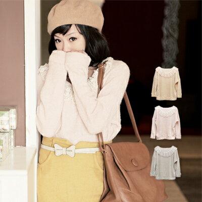 ☆雙兒網☆秋的記憶.預購【U223】棉花糖女孩珍珠布蕾絲領QQ毛巾感上衣-共三色 0