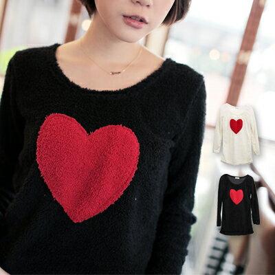 ☆雙兒網☆甜蜜冬氛.【U276】sweet heart愛心柔軟泰迪熊毛上衣-共兩色
