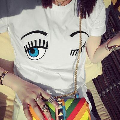 T恤 歐美流行刺繡逗趣大眼睛圖案T恤【U2898】☆雙兒網☆ - 限時優惠好康折扣
