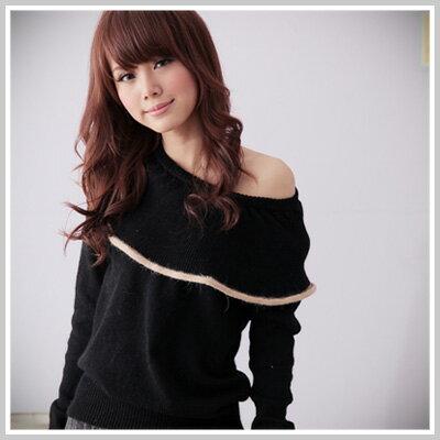 【U394】韓版波浪大領配色顯瘦毛衣-共2色 - 限時優惠好康折扣