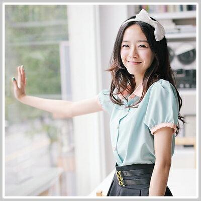 ☆雙兒網☆ Sunshine.現貨+預購【U508】Lena日系冰沙色珍珠雪紡上衣-共2色 - 限時優惠好康折扣
