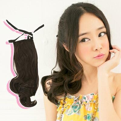 ☆雙兒網☆與大波浪捲馬尾假髮100%可以燙【7956A】耐熱纖維-馬尾式長捲髮