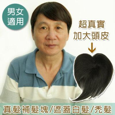 (男女適用)遮蓋頭頂白髮~手織大頭皮補髮塊/頭頂髮片*100%真髮可染可燙【RT02】☆雙兒網☆ 0