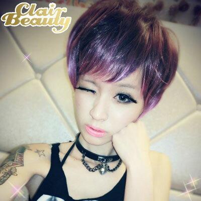 挑染混色~魔幻炫紫蓬鬆感短髮~高仿真整頂假髮【MB090】☆雙兒網