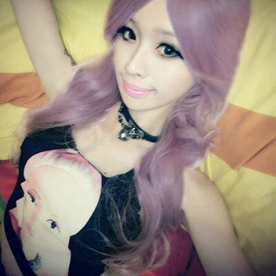 薰衣草紫角色扮演大斜分長捲髮~高仿真整頂假髮【MA147】☆雙兒網☆