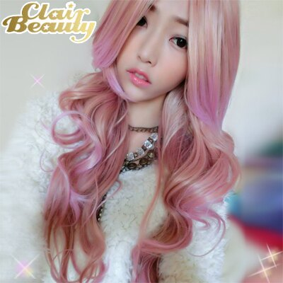 淺米金粉紅混色長瀏海波浪捲髮~高仿真超自然整頂假髮【MA171】☆雙兒網☆ 1