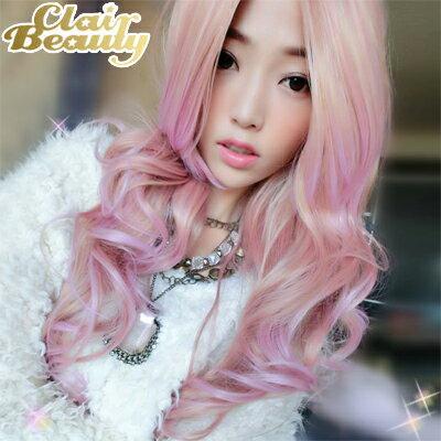淺米金粉紅混色長瀏海波浪捲髮~高仿真超自然整頂假髮【MA171】☆雙兒網☆ 0