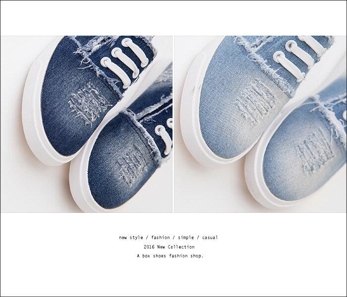 ★399免運★格子舖*【KTK190】校園簡約百搭 個性刷白破壞刷破牛仔帆布 造型鞋帶 帆布鞋 懶人鞋 2色 2