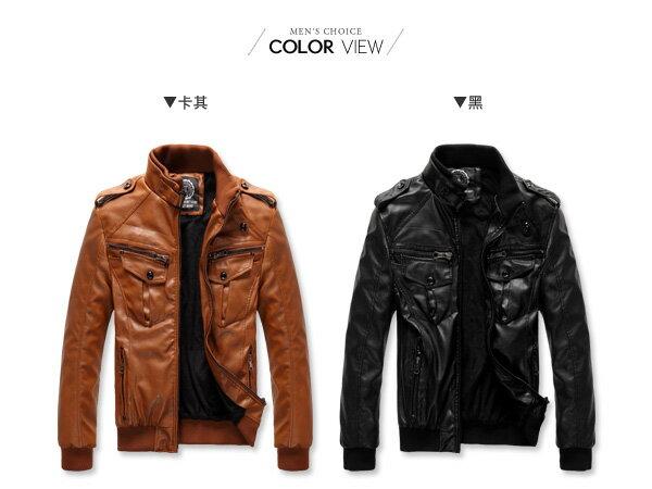 ☆BOY-2☆【NZ78005】羅紋立領機車皮衣外套 1