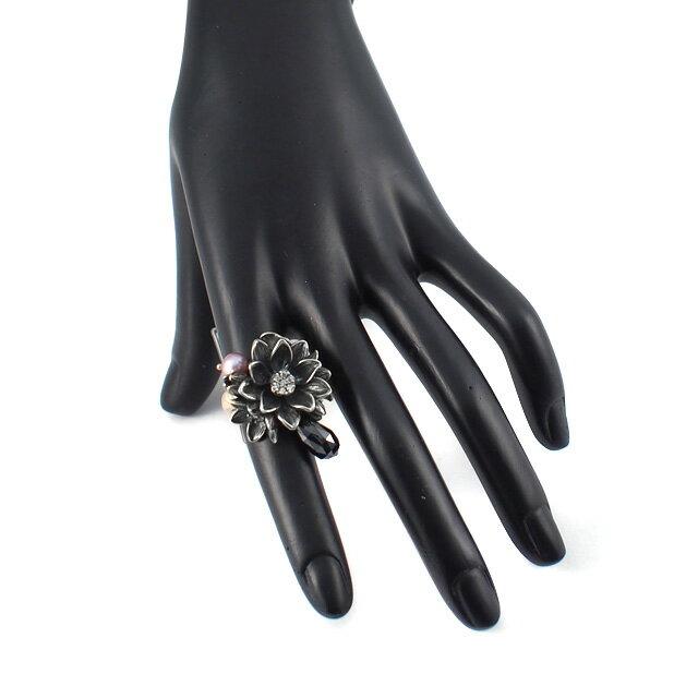 【海外訂購】【KONRON】公主珍珠花朵寶石純銀戒指-黑色(KRR0535-cz-Black) 2