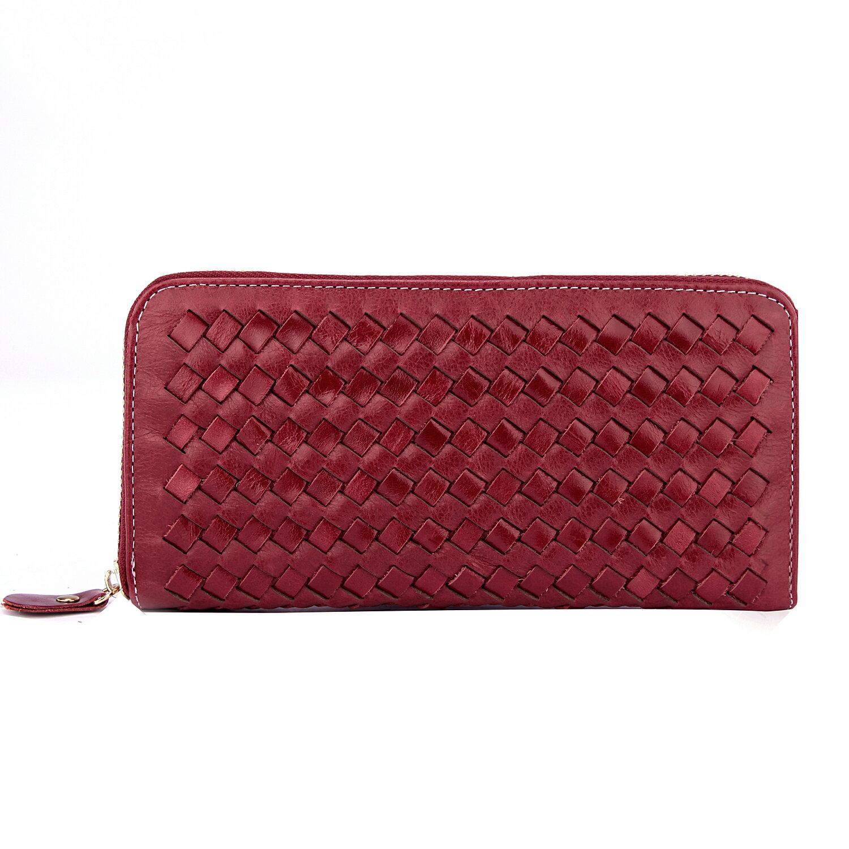 【BEIBAOBAO】法式 編織真皮時尚皮夾(甜莓紅) 0