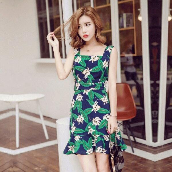 PS Mall 韓版新款吊帶印花綠葉魚尾裙收腰顯瘦荷葉邊連身裙 洋裝【T1773】