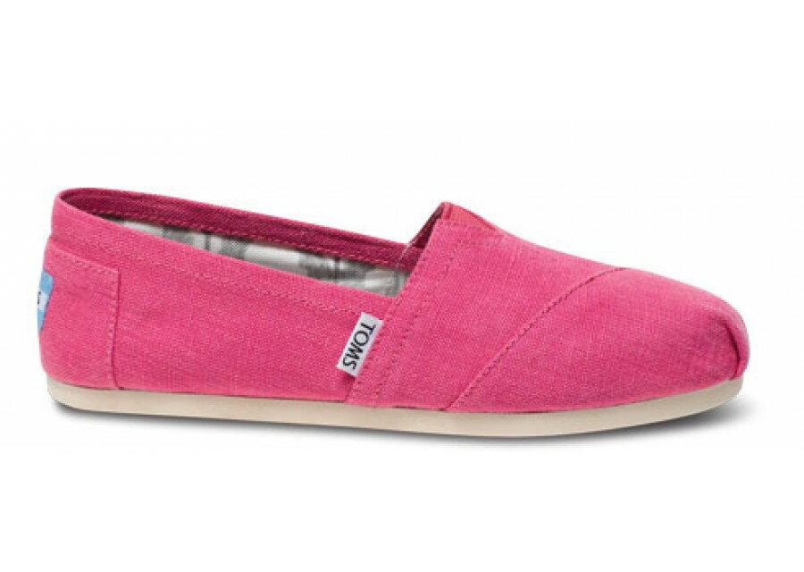 【TOMS】粉紅色亞麻平底休閒鞋  Earthwise Pink Women's Vegan Classics 2