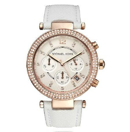 美國Outlet 正品代購 MichaelKors MK 玫瑰金鑲鑽 白色皮帶三環計時手錶腕錶 MK2281 1