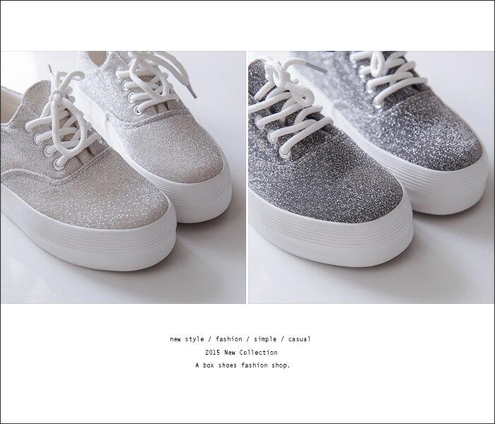 格子舖*【KRW-658】韓國街頭學院風 低調奢華閃耀金蔥 繫帶3.5CM厚底增高鬆糕鞋 3色 2