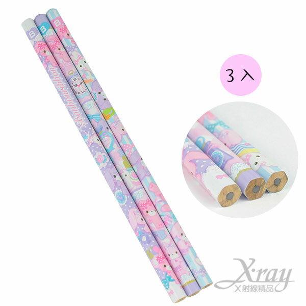 X射線【C202401】BO蹦蹦兔 6角形B木頭鉛筆3入,開學文具用品/兒童鉛筆/鉛筆盒/卡通圖案