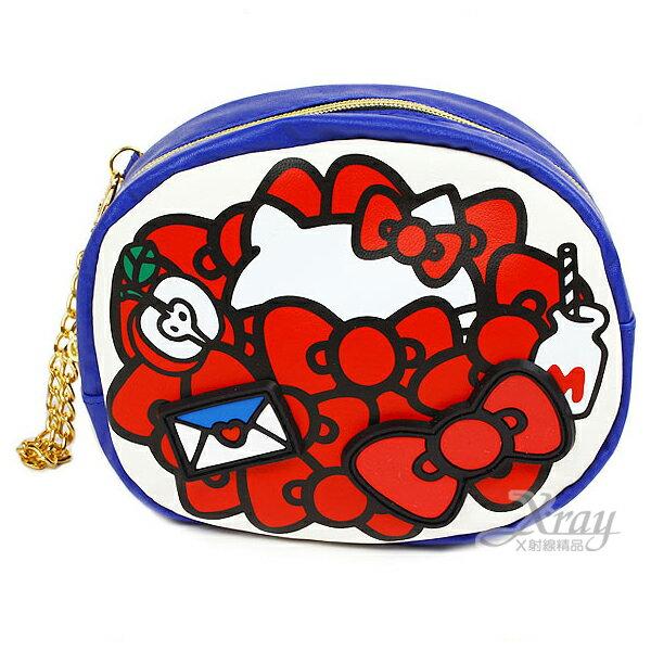 X射線【C216095】Hello Kitty 滿版緞帶造型包附金屬鍊(白底藍邊),零錢包/皮包/化妝包