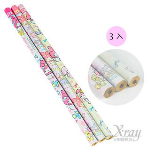 X射線【C696255】美樂蒂6角形2B木頭鉛筆3入-格子,開學文具用品/兒童鉛筆/鉛筆盒/卡通圖案