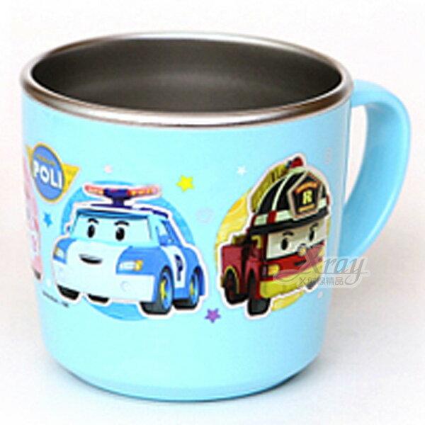 X射線【C028541】POLI車車不鏽鋼杯225ml《藍.單把杯》,開學必備/水杯/漱口杯/牙刷杯/