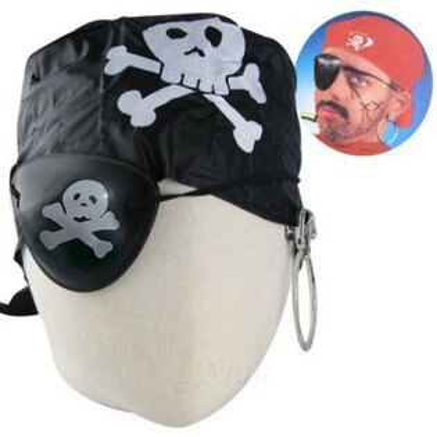 X射線【W903686】海盜眼罩耳環頭巾套組(黑色)-隨機出貨,萬聖節/Party/角色扮演/化妝舞會/表演造型都合適~