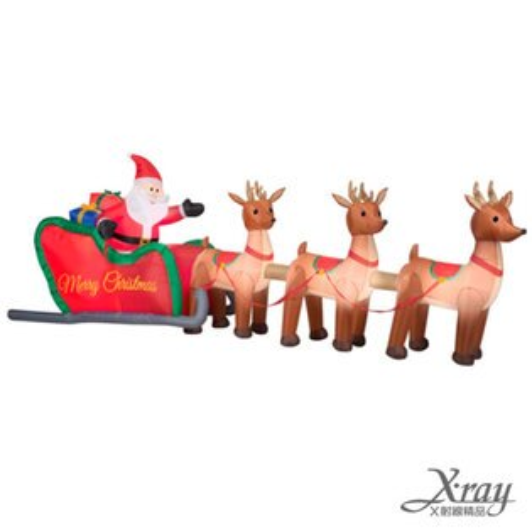 X射線【X007809】160CM聖誕老公公鹿拉雪橇充氣,聖誕佈置造景/充氣擺飾好收納/聖誕充氣