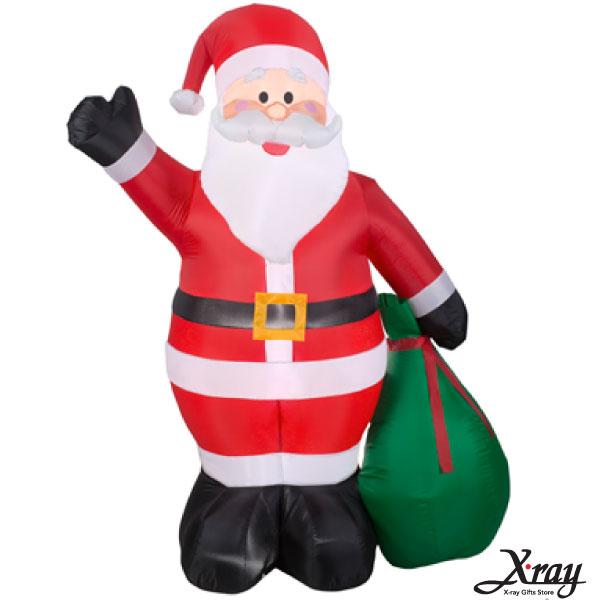 X射線【X007810】198CM聖誕老公公綠色禮物袋充氣,聖誕佈置造景/充氣擺飾好收納/聖誕充氣