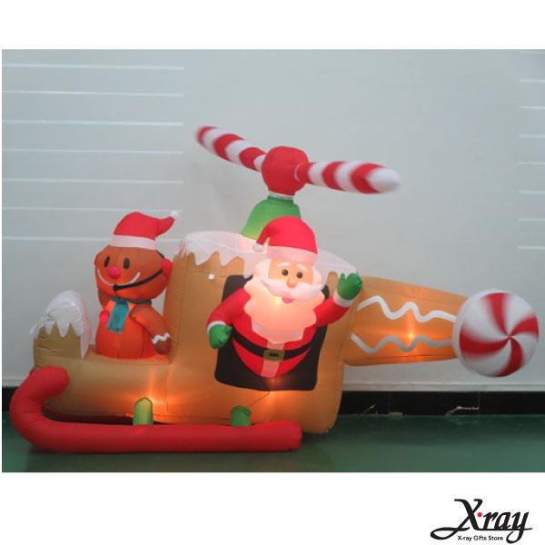 X射線【X007811】137CM聖誕老公公開薑餅直升機充氣(會動),聖誕佈置造景/充氣擺飾好收納/聖誕充氣