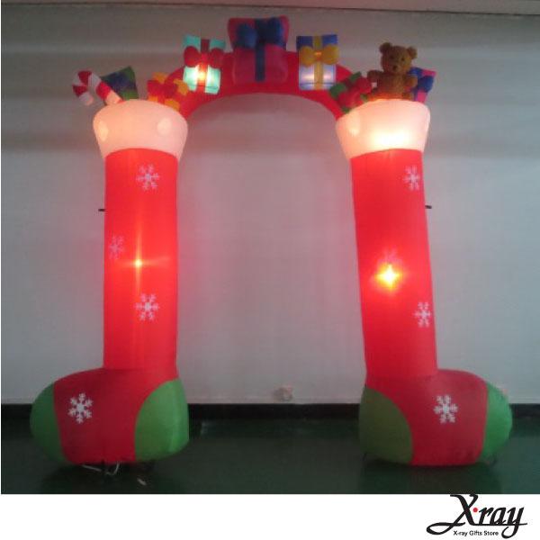 X射線【X007815】290CM毛絨筒襪拱門充氣,聖誕佈置造景/充氣擺飾好收納/聖誕充氣