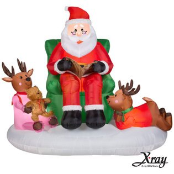 X射線【X007826】163CM聖誕老公公說故事充氣,聖誕佈置/充氣擺飾好收納/聖誕充氣