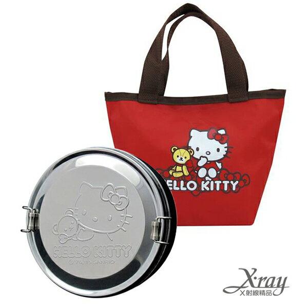 X射線【C168456】KITTY不鏽鋼便當盒(附提袋-紅),環保/餐盤/便當盒/不銹鋼/不鏽鋼/開學/卡通