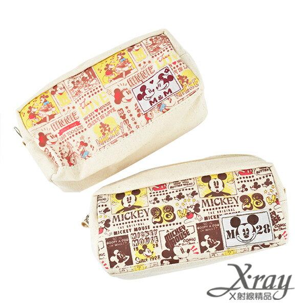 X射線【C496577】古典米奇方型筆袋-M&M LOVE,MICKEY(2選1),收納/削筆機/筆袋/開學必備/置物盒