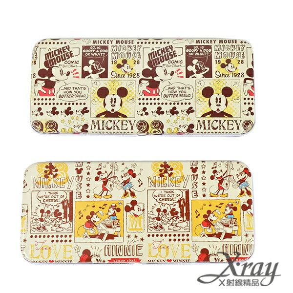 X射線【C496591】古典米奇雙層鐵製鉛筆盒-M&M LOVE.MICKEY(2選1),收納/削筆機/筆袋/開學必備/迪士尼