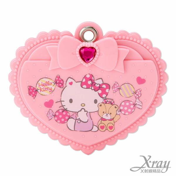 X射線【C489055】Hello Kitty 滑蓋鏡子梳妝組,隨身鏡/鏡子/梳子/梳妝