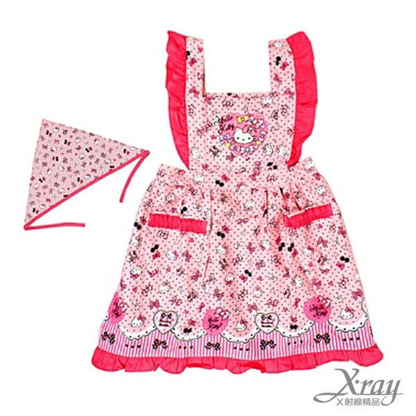 X射線【C598665】Hello Kitty 櫻桃點點荷葉邊兒童圍裙三角巾組(粉紅),工作裙/家事/廚房/勞作的好幫手