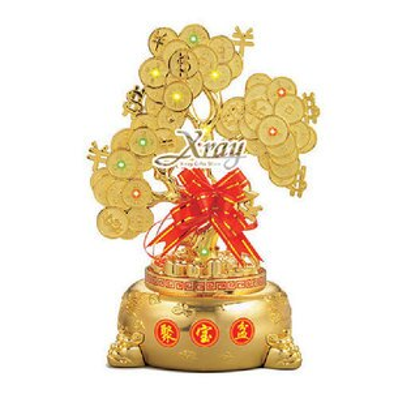 X射線【Z680892】小金錢樹聚寶盆 帶燈,春節/過年/金元寶/紅包袋/糖果盒
