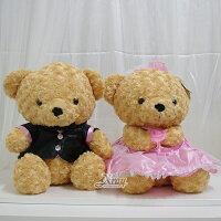 婚禮小物推薦到X射線【Y030312】40CM結婚熊婚紗熊1對(粉),絨毛娃娃/情人節/婚禮小物