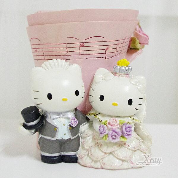 X射線【Y135207】Kitty結婚樂譜筆筒,卡通/筆筒/擺飾/情人節/聖誕節/送禮/婚禮小物/文具/辦公用品