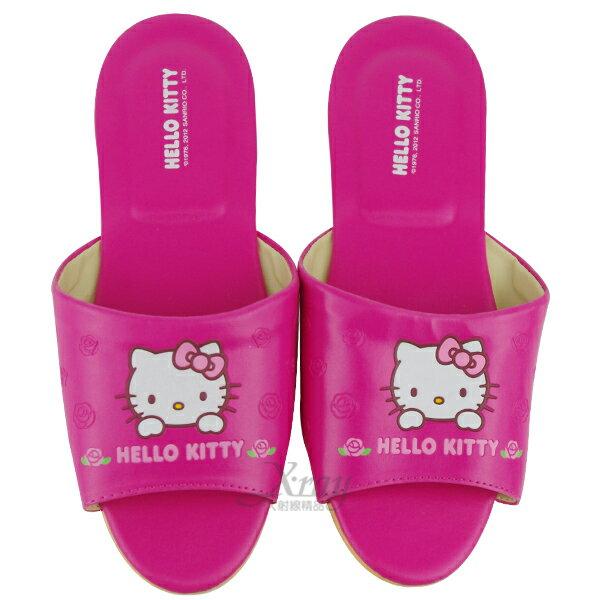 X射線~C959894~Kitty室內皮製拖鞋^(桃紅.圓點^),兒童拖鞋 室內拖鞋 舒適
