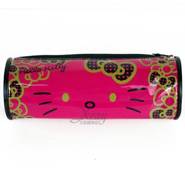 X射線【C129588】HelloKitty 圓筒型筆袋(紅.大臉),收納包/旅行組/旅行收納包/萬用包