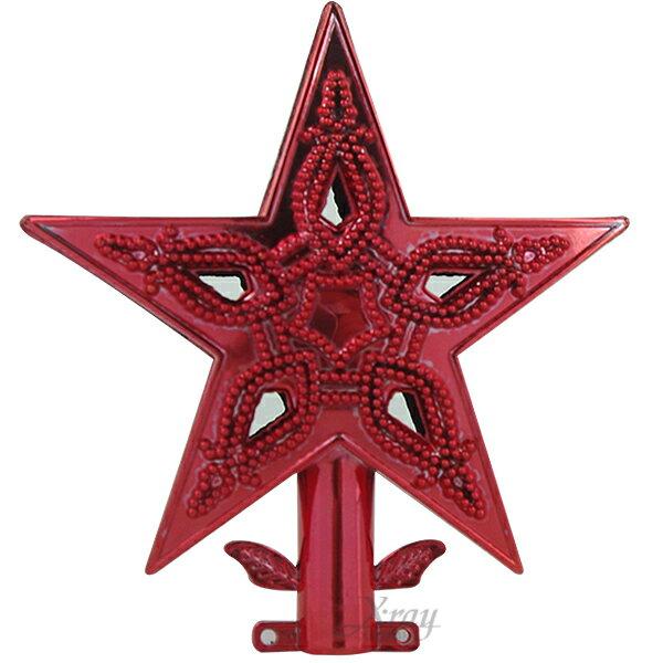 "X射線【X872823】3"" 電鍍樹頂星(紅),聖誕/聖誕佈置/裝飾/吊飾/交換禮物"