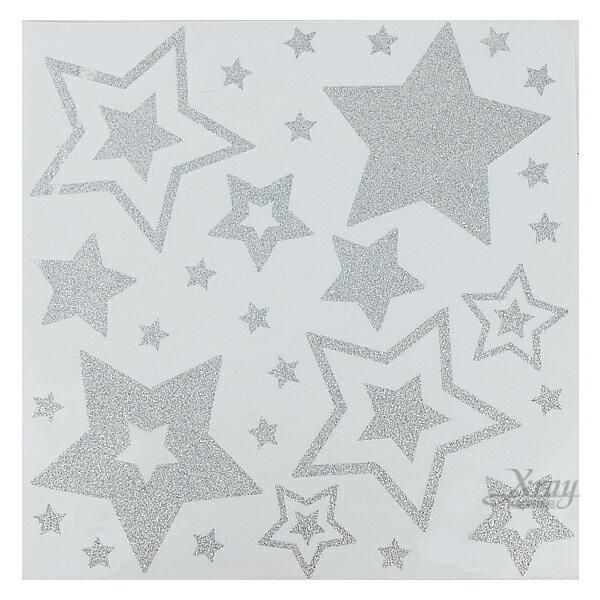 X射線【X389467】亮粉靜電貼-星星,聖誕衣/聖誕帽/聖誕襪/聖誕禮物袋/聖誕老人衣服