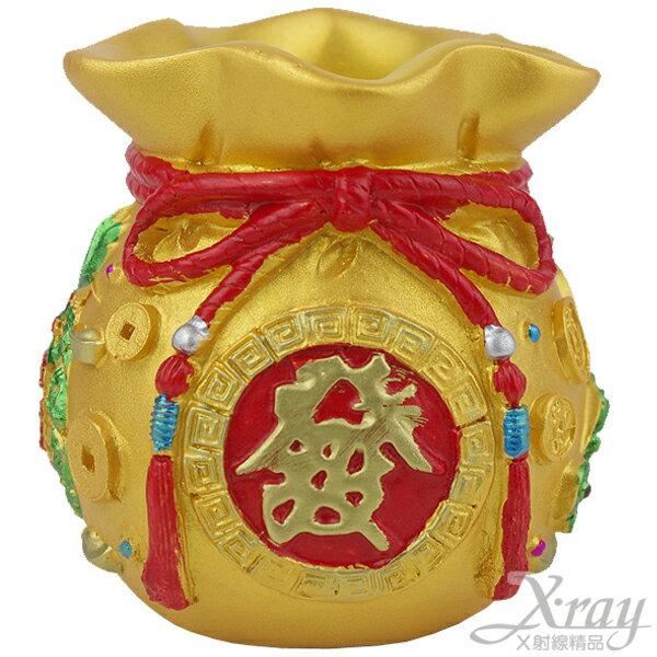 X射線【Z051081】黃金袋筆筒,春節/過年佈置/擺飾/掛飾/吊飾/送禮/羊年