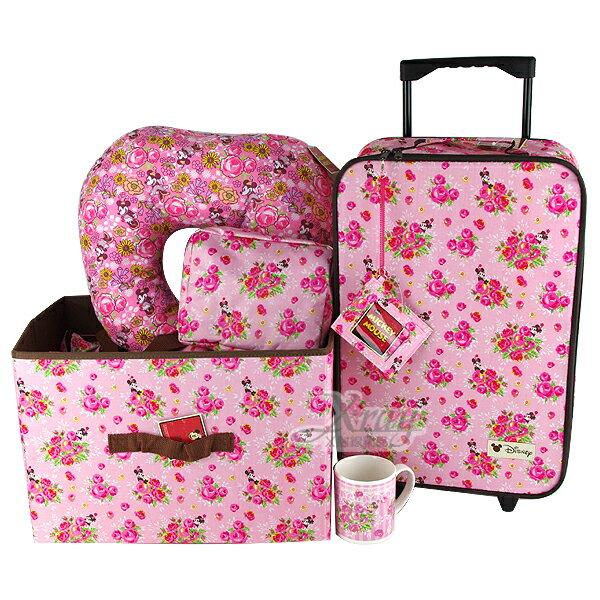 X射線【C005076】米妮登機箱福袋(粉.玫瑰花),旅行箱/行李箱/拉桿箱/登機箱/購物箱