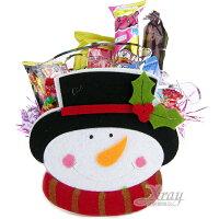 小熊維尼周邊商品推薦X射線【X460406】大頭雪人手提袋糖果組,糖果襪/糖果罐/聖誕節/交換禮物/聖誕小禮物