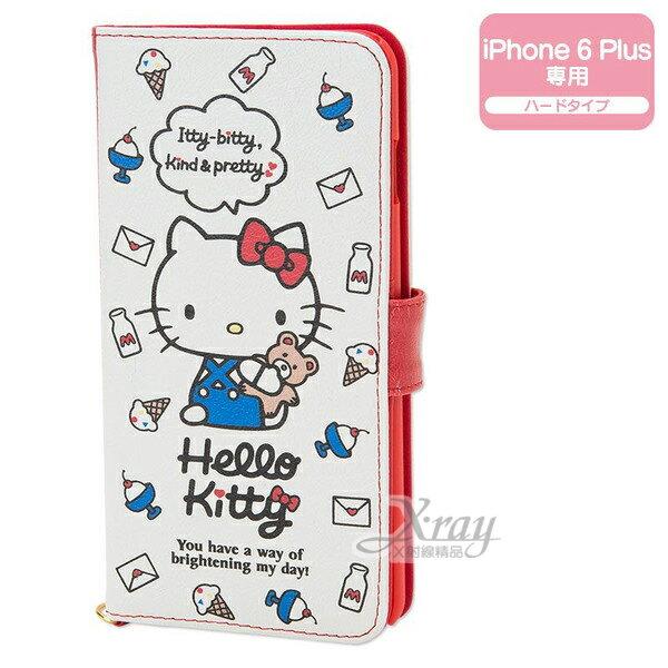 X射線【C823439】Hello Kitty iPhone6 Plus 保護皮套《白.物品.吊帶褲小熊》書本扣式.內有隔層 ,手機殼/手機套/智慧型手機