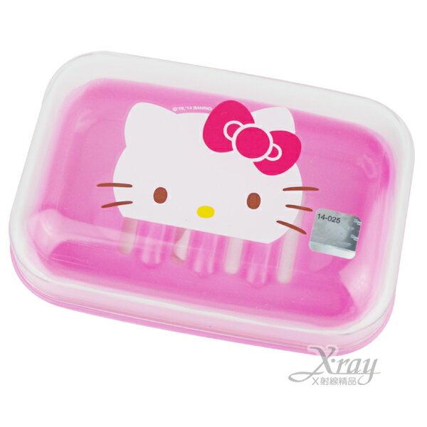 X射線【C110119】Hello Kitty附蓋可瀝水香皂盒(粉.大臉)韓國製,香皂盤/肥皂盒/卡通/可愛日式/凱蒂貓/三麗鷗/置物架