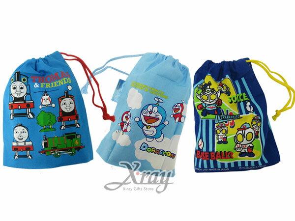 X射線【C708250】鹹蛋超人/湯瑪士/哆啦A夢束口袋(3選1),縮口袋/旅用小物袋/衛生棉袋