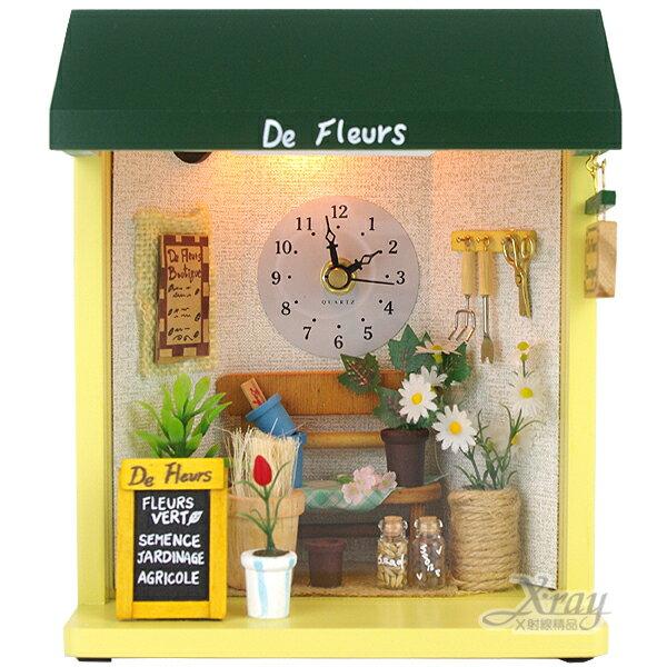 X射線【Y190843】掛式娃娃屋+鐘(盆栽),手做/飾品//袖珍~紀念品、送禮的好選擇