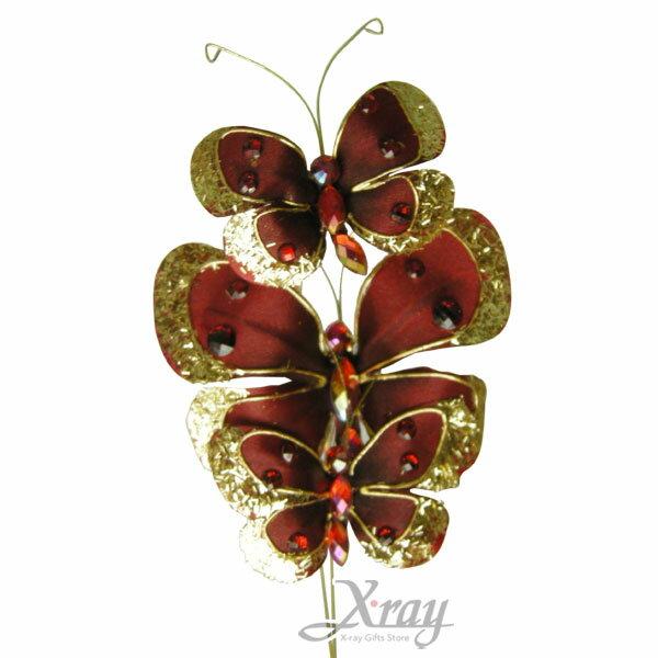 X射線【X158010】珠寶三叉粉蝴蝶(紅色)聖誕/花材裝飾/花飾/假花/掛飾佈置/人造花